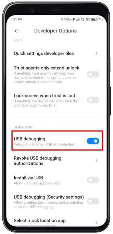 enable USB Debugging on Google Pixel