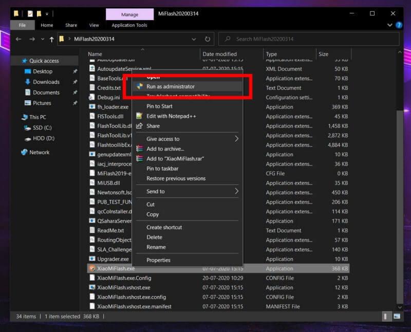 Run as Administrator Mi Flash Tool