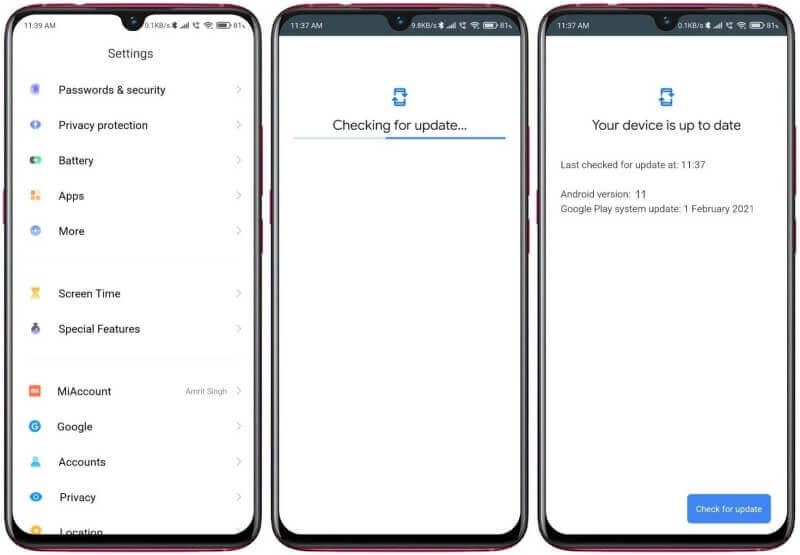 Android 11 Update for Redmi Note 8 Pro