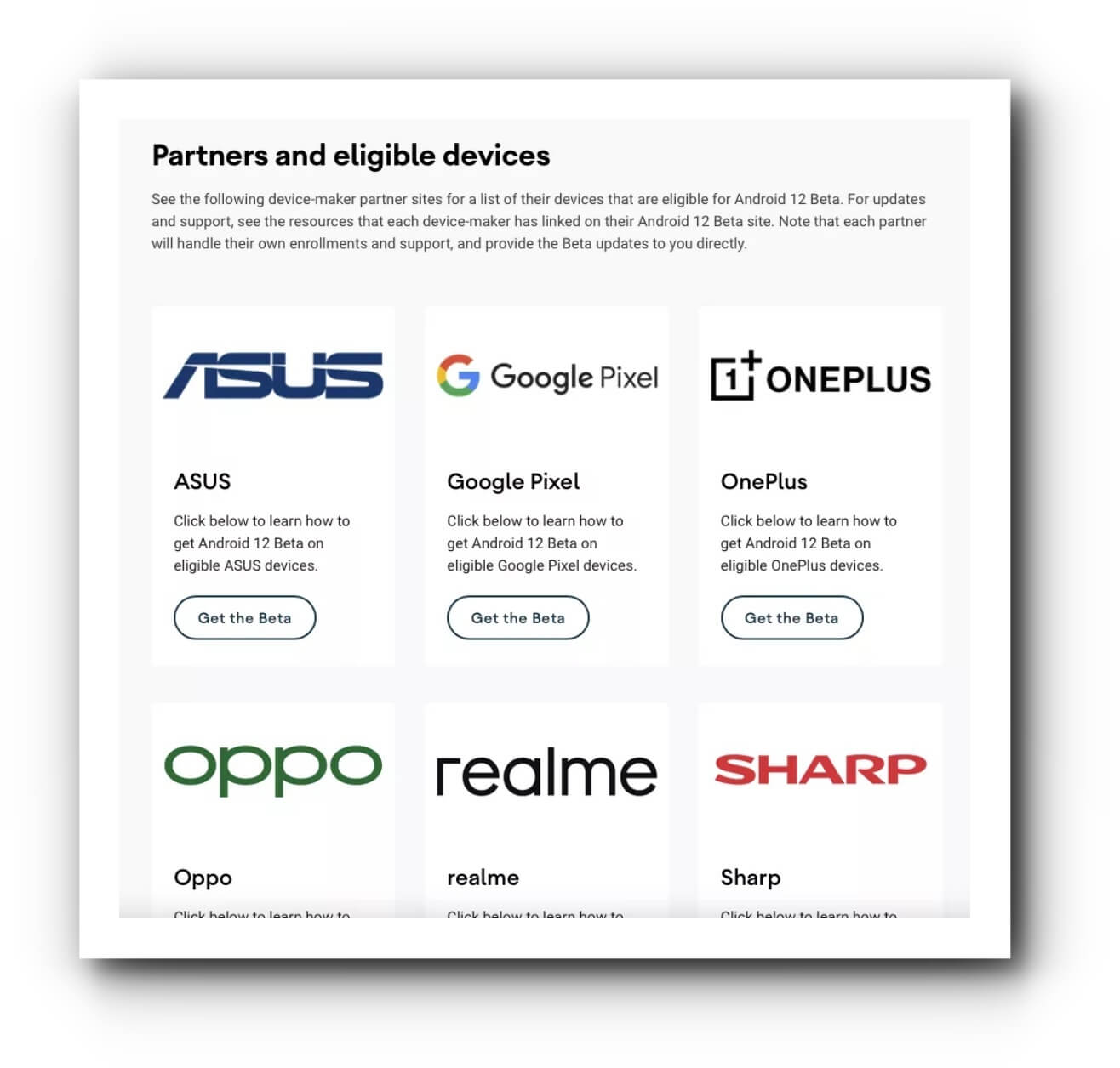 Android 12 Device List